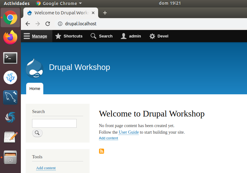 Drupal 8 Workshop first screen